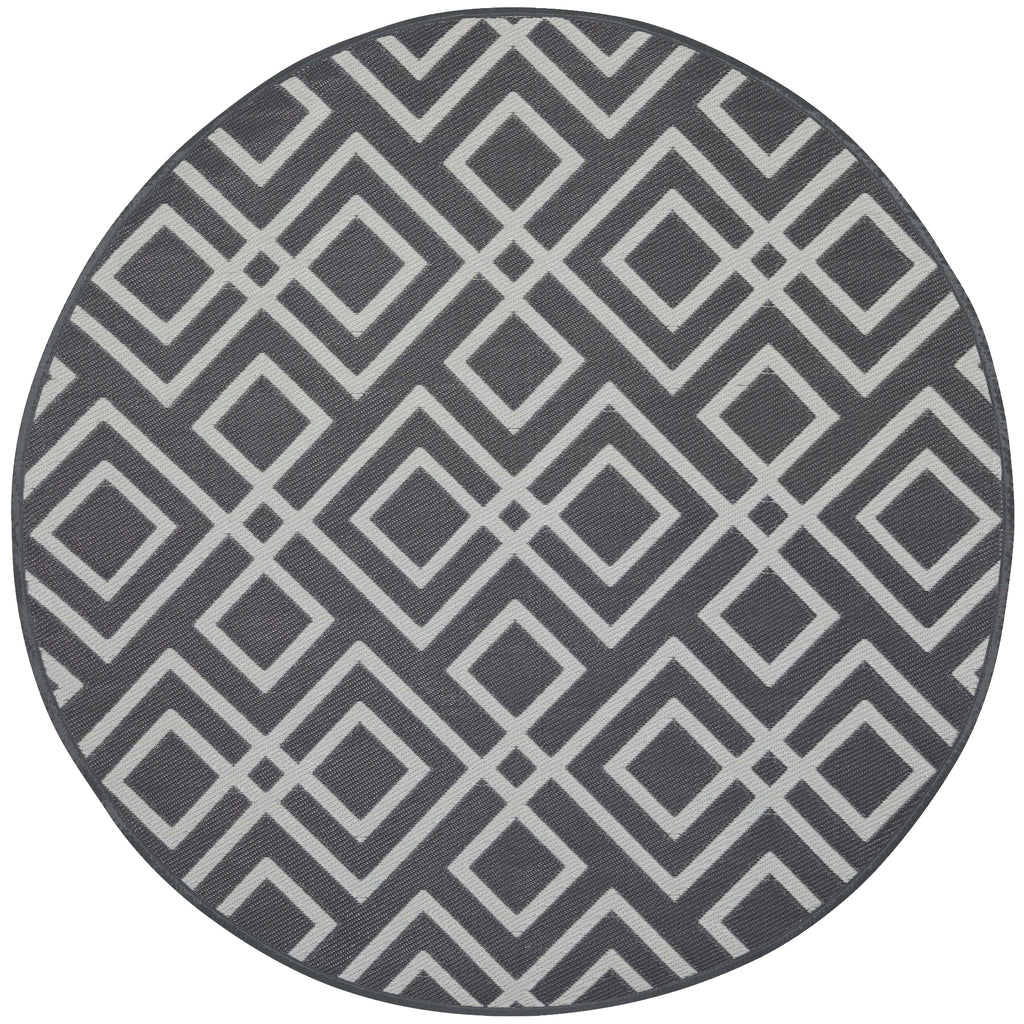 Reversible Round Outdoor Rug Huron Grey