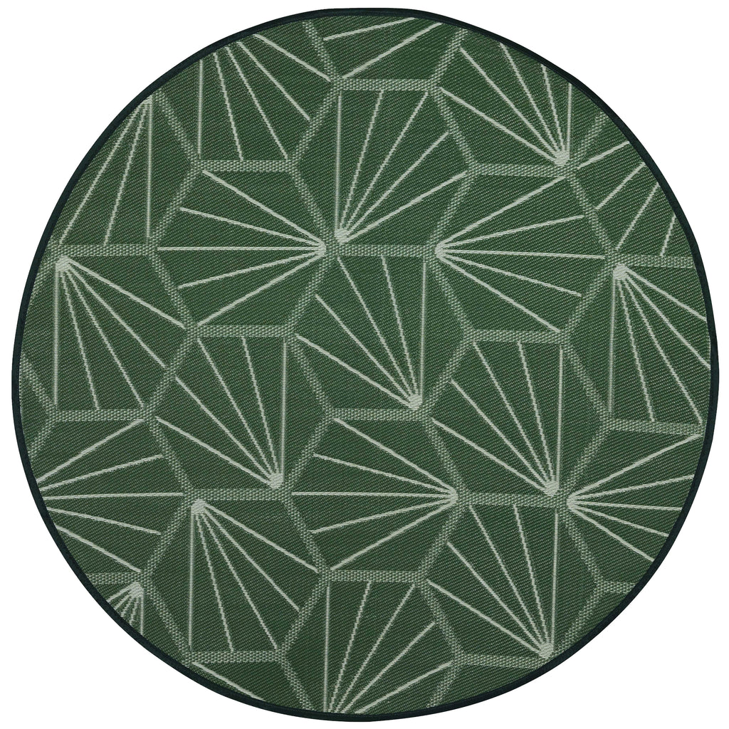 Reversible Round Outdoor Rug Michigan Green