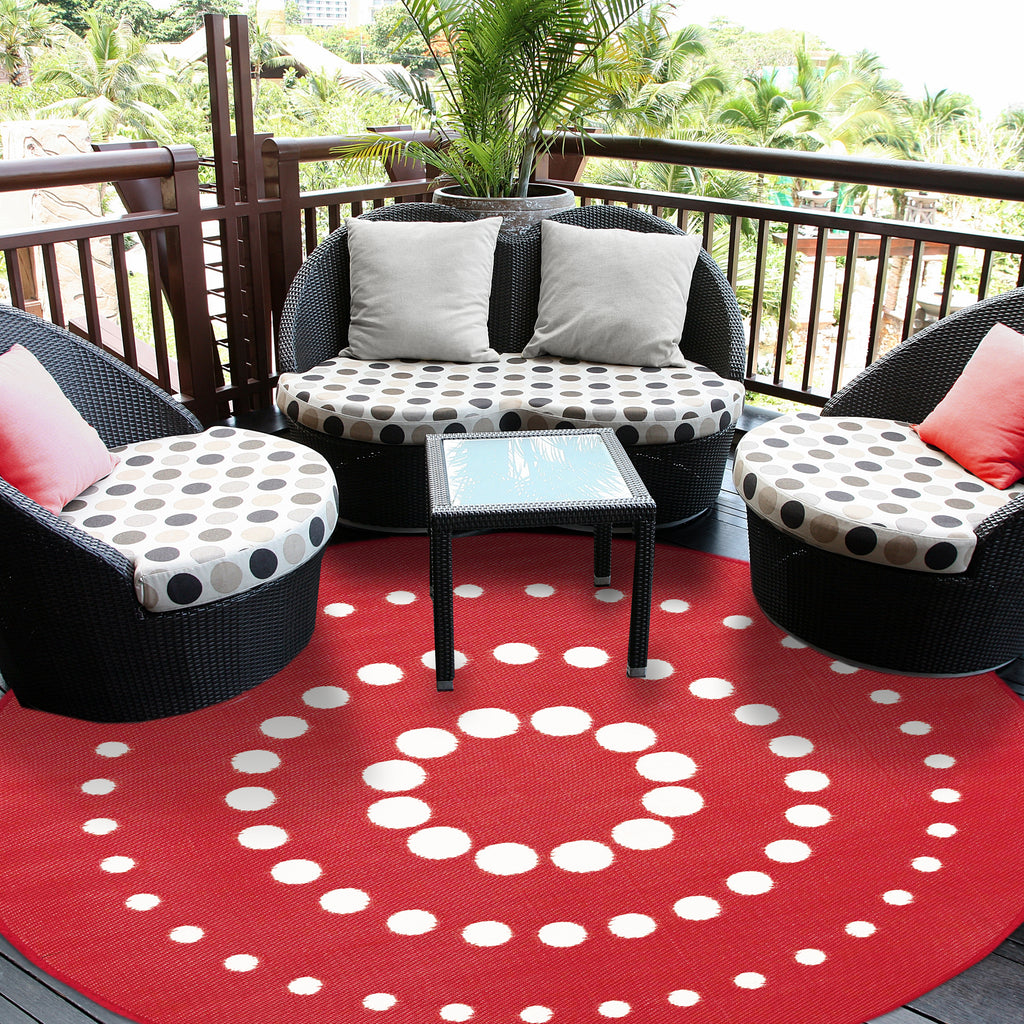 Reversible Round Outdoor Rug Superior Red
