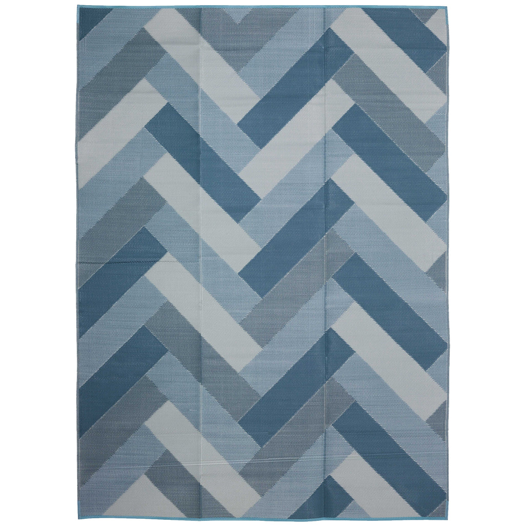 Reversible Outdoor Rug Blue and White