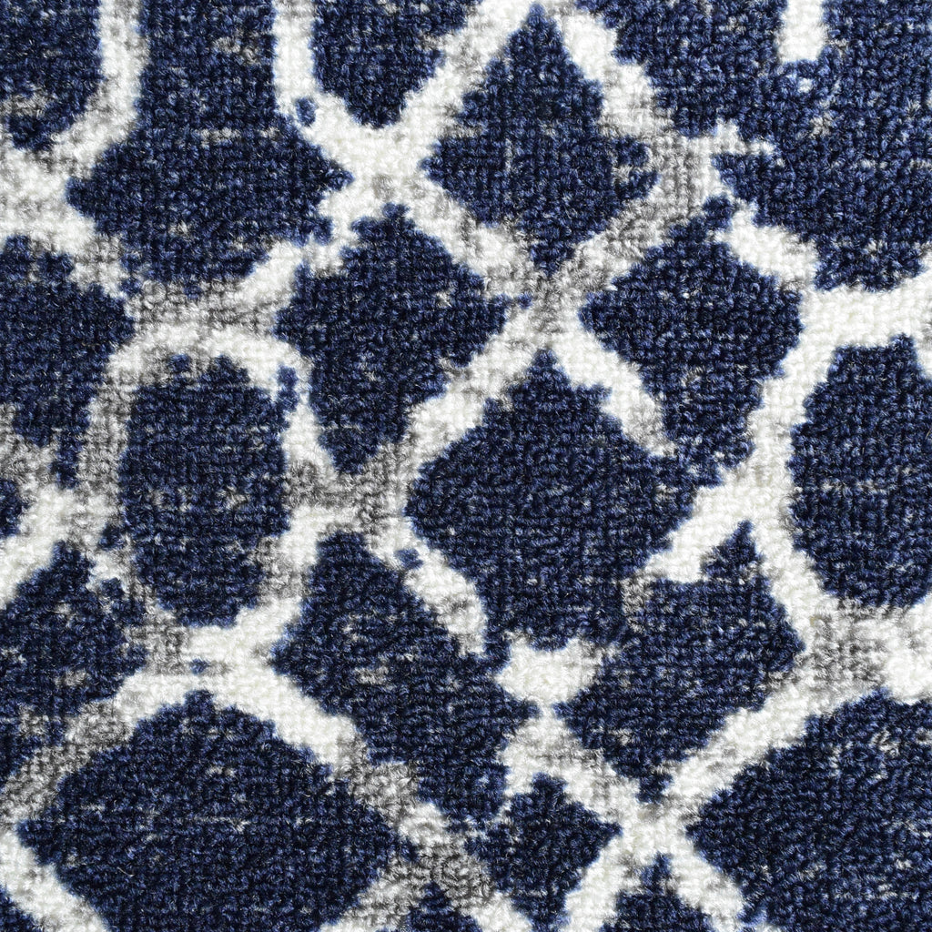 Decorative Area Rug and Carpet Runner for Stairs and Hallway, 8 Patterns - Customizable Lengths, Non-Skid Rubber Back, Geometric, Blue.
