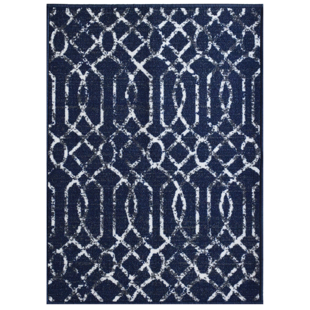 Decorative Area Rug and Carpet Runner for Stairs and Hallway, Geometric, Blue iCustomRug
