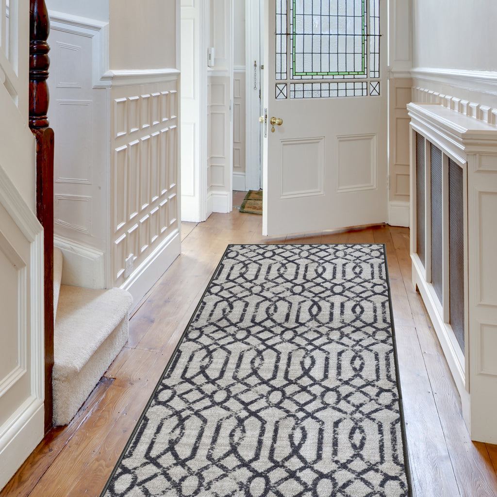 Decorative Area Rug and Carpet Runner for Stairs and Hallway, 8 Patterns - Customizable Lengths, Non-Skid Rubber Back, Geometric, Light Grey.