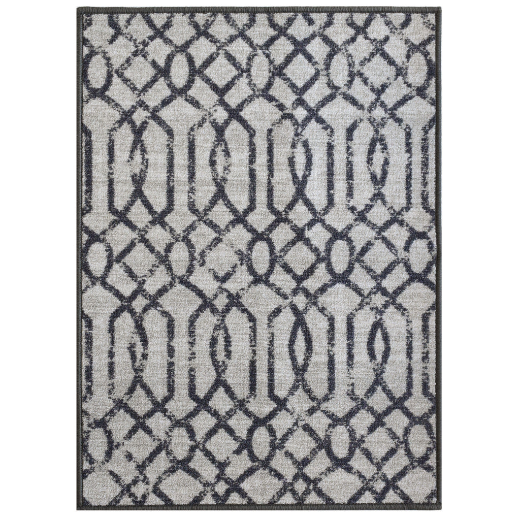 Decorative Area Rug and Carpet Runner for Stairs and Hallway, Geometric, Light Grey iCustomRug