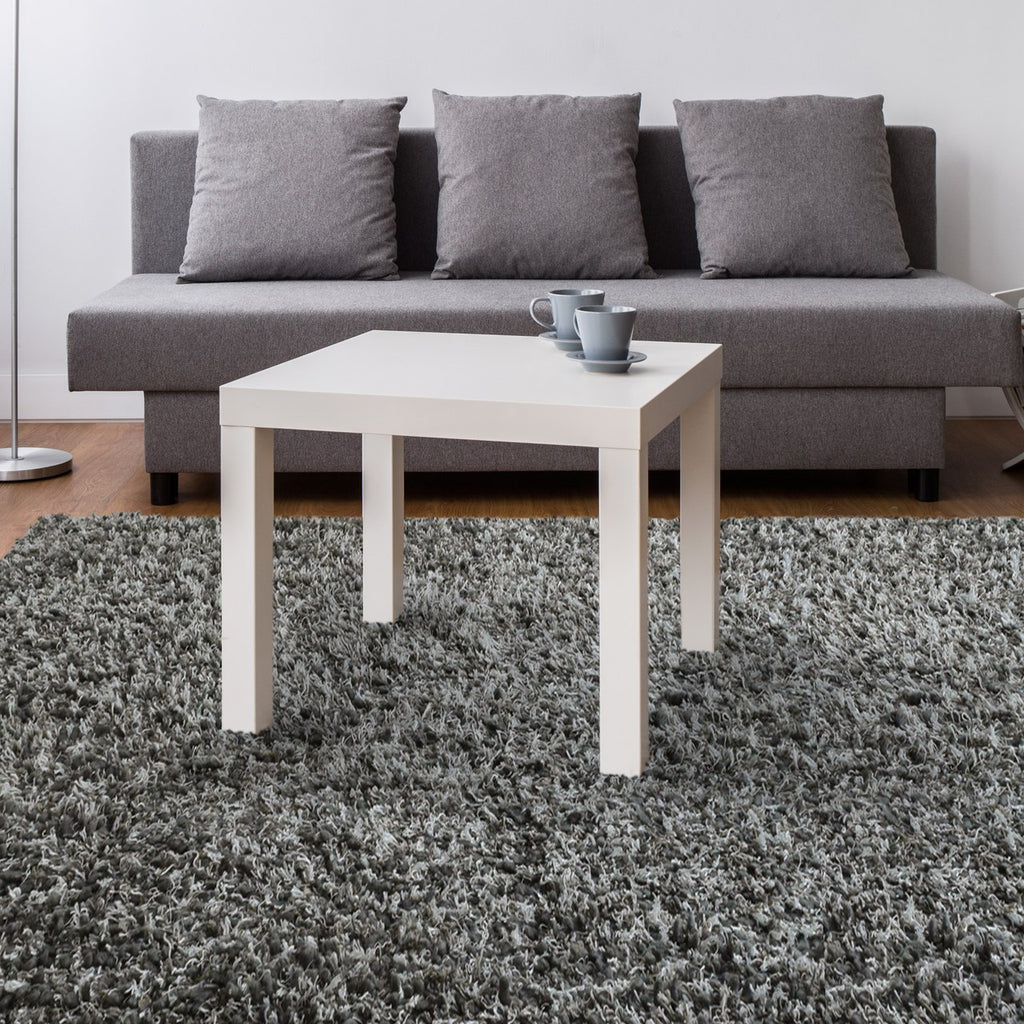 Laylah Super Dense Wool Shag Area Rug Charcoal