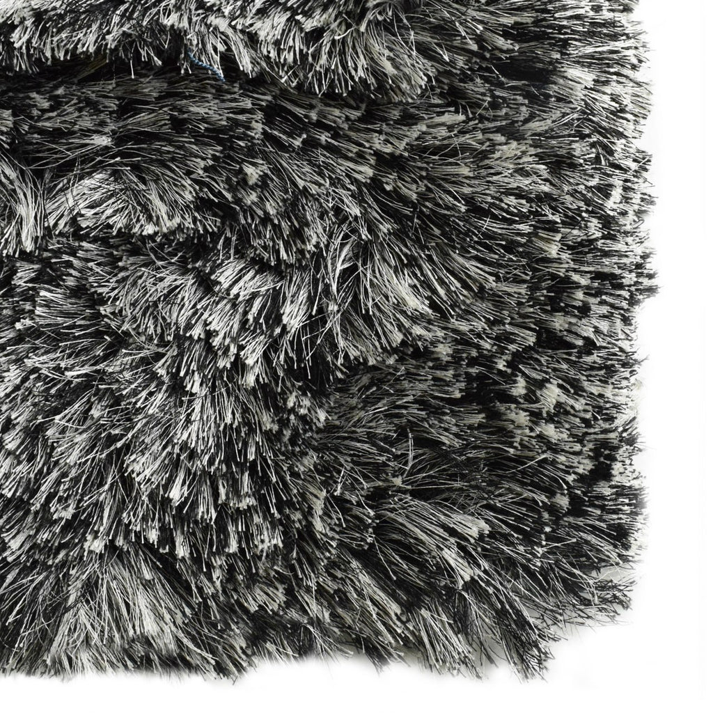 Paris Shag Area Rug Black & White