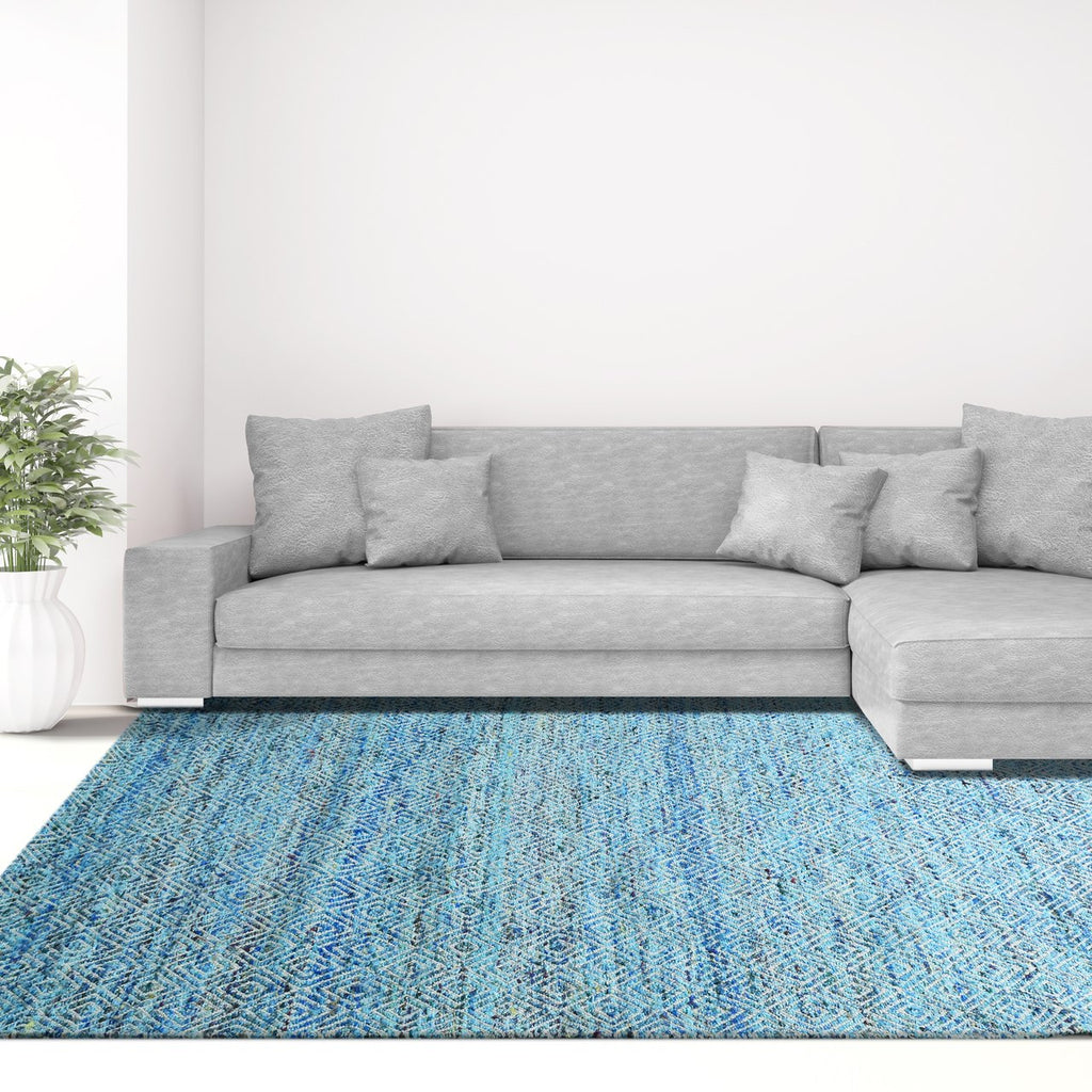 Maeva Stylish Diamond Pattern Area Rug Aqua Blue