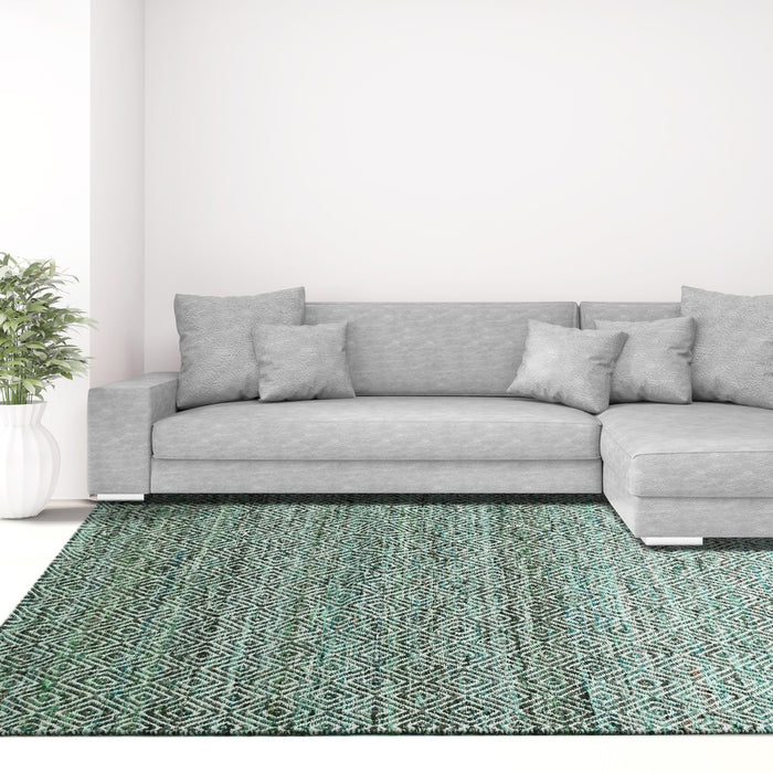 Maeva Stylish Diamond Pattern Area Rug Jungle Green