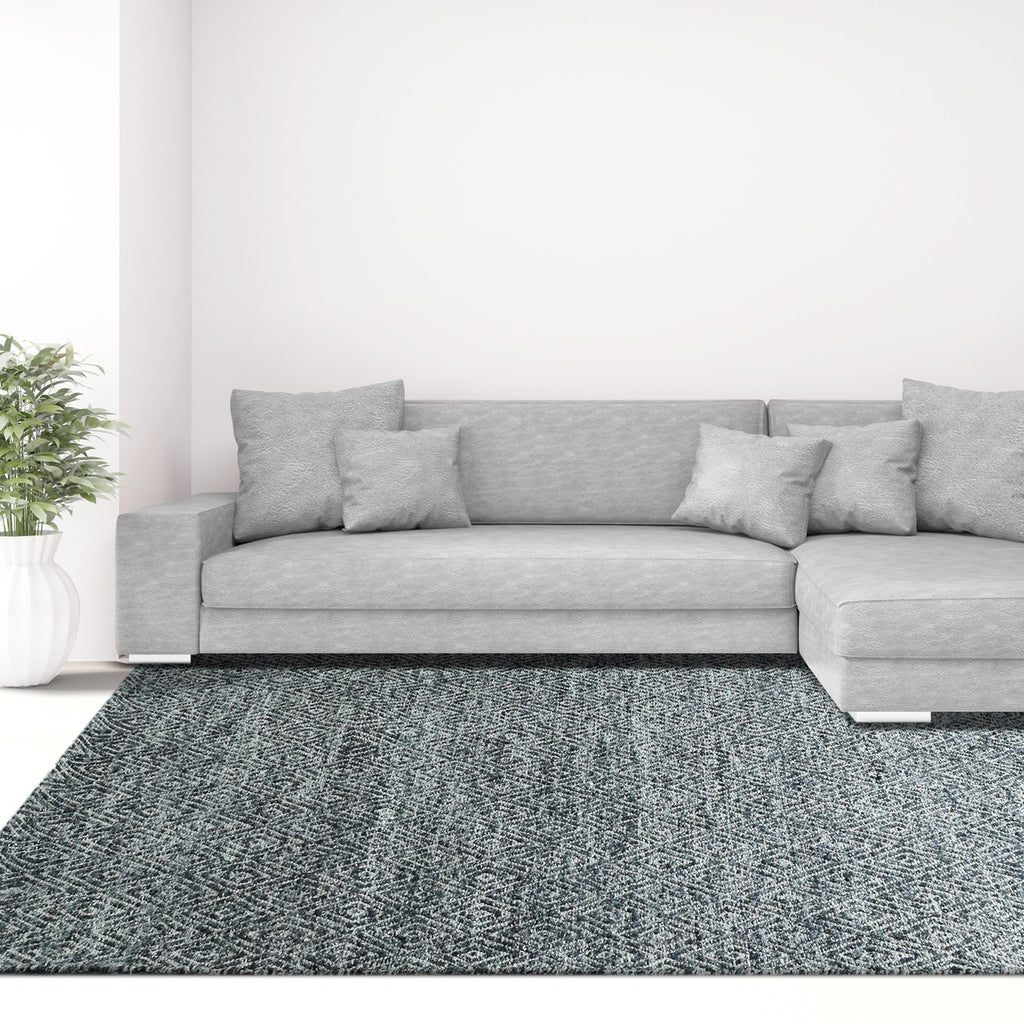 Maeva Stylish Diamond Pattern Area Rug Midnight Grey