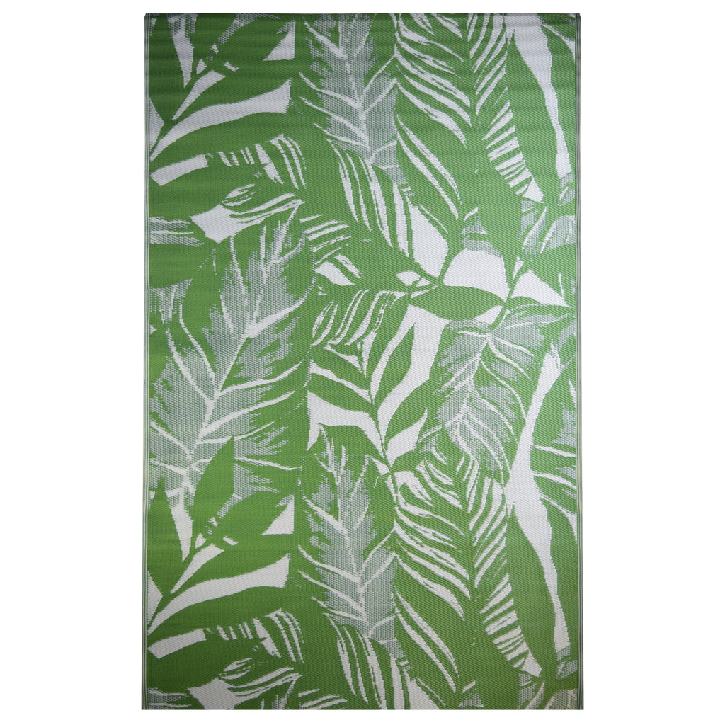 Reversible Outdoor Rug Botanical Leaves Green and White