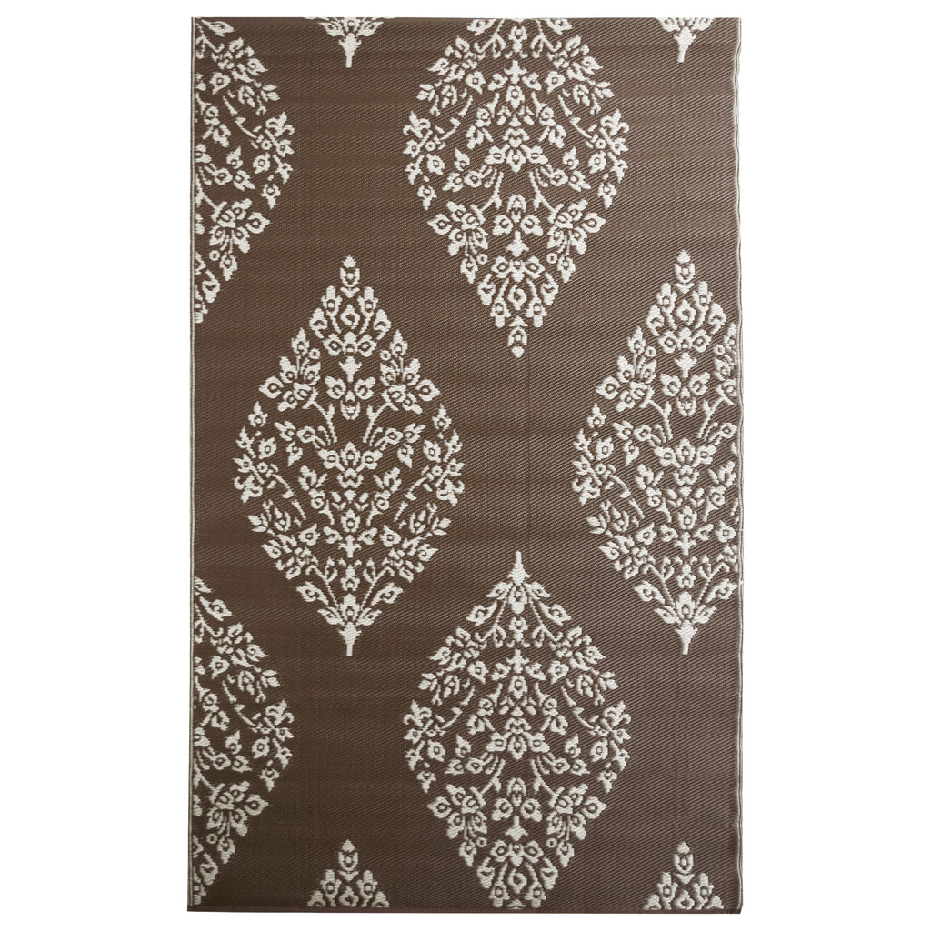 Reversible Outdoor Rug Leaf Brown and White