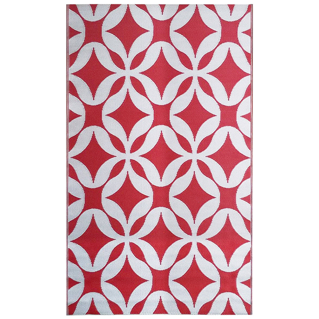 Reversible Outdoor Rug Geometric Floral Red & White