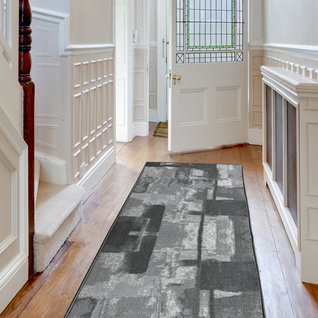 Decorative Area Rug and Carpet Runner for Stairs and Hallway, 8 Patterns - Customizable Lengths, Non-Skid Rubber Back, Abstract, Grey.