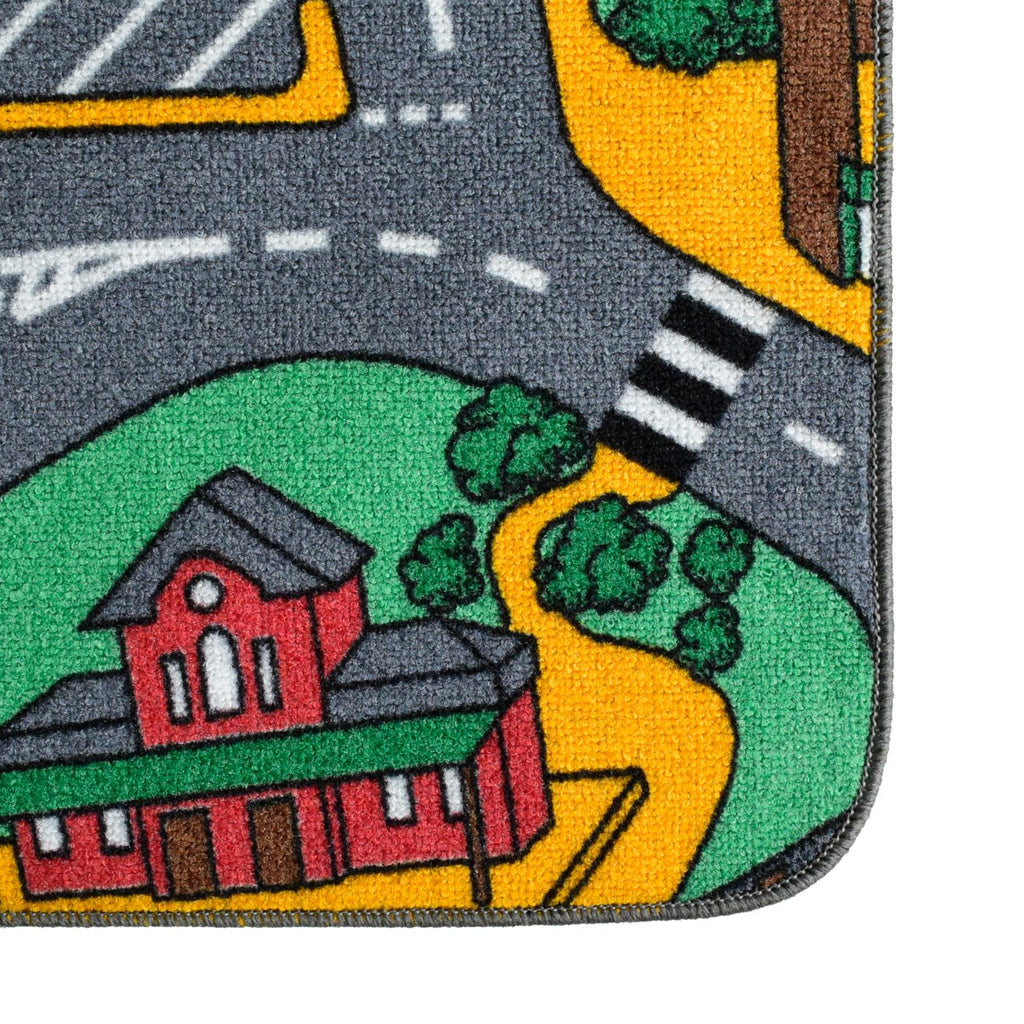 Road Map Playtime Area Rug Green For Kids