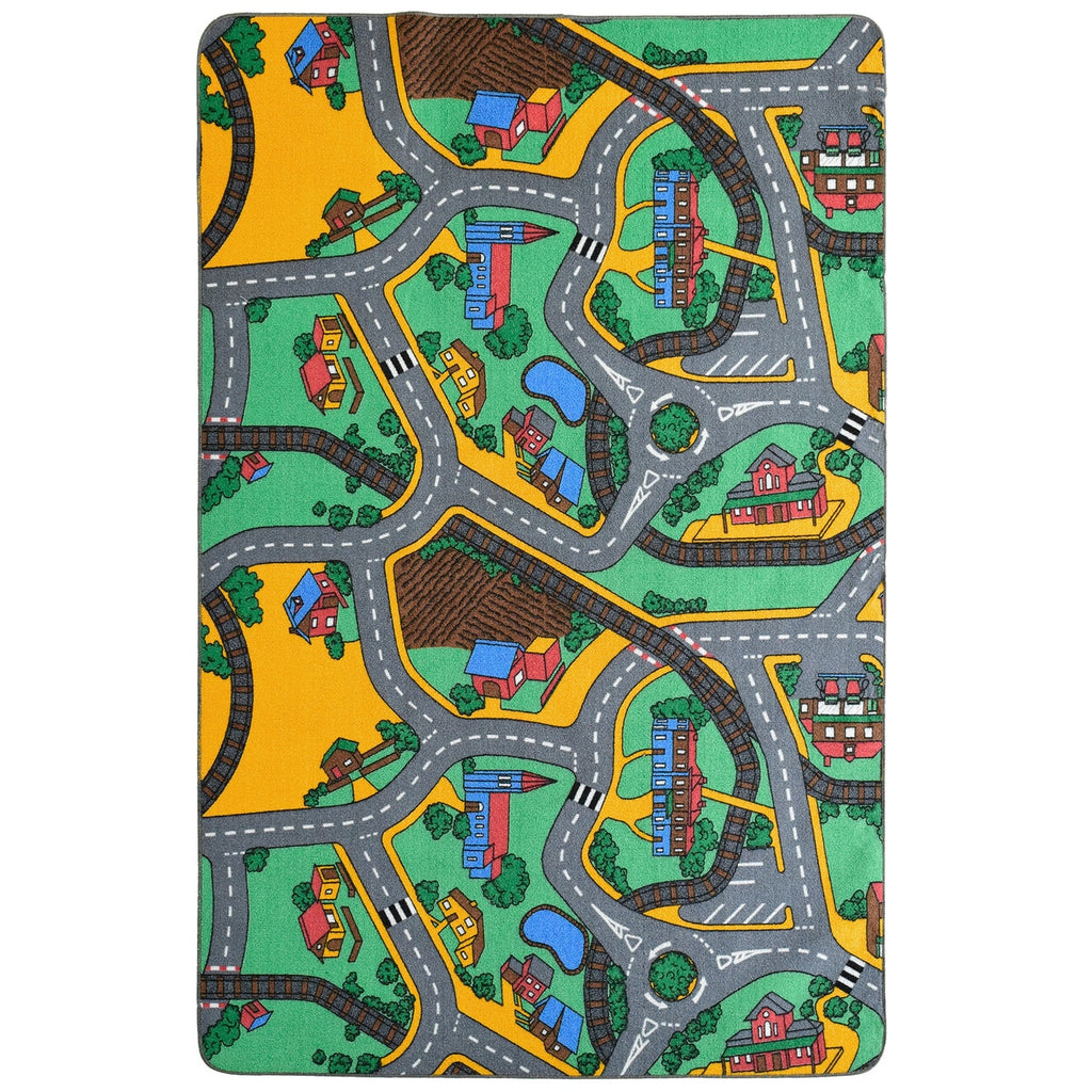 Road Map Playtime Area Rug Green For Kids iCustomRug