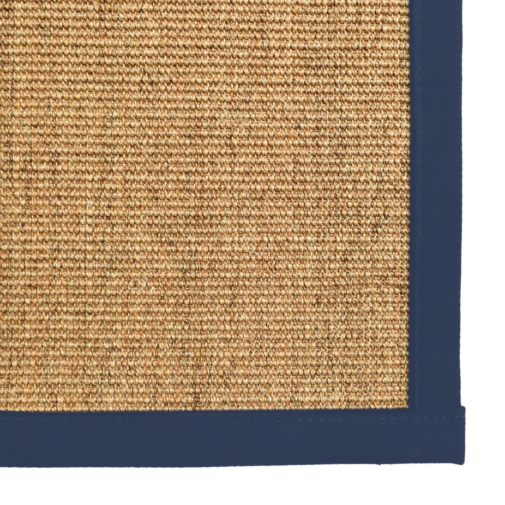 Bristol Natural Sisal Area Rug with Navy Blue Color Border