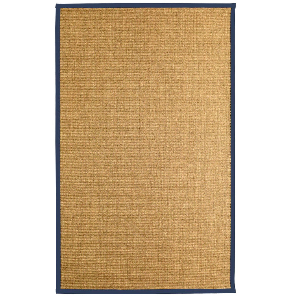 Bristol Natural Sisal Area Rug Navy Blue Color Border iCustomRug