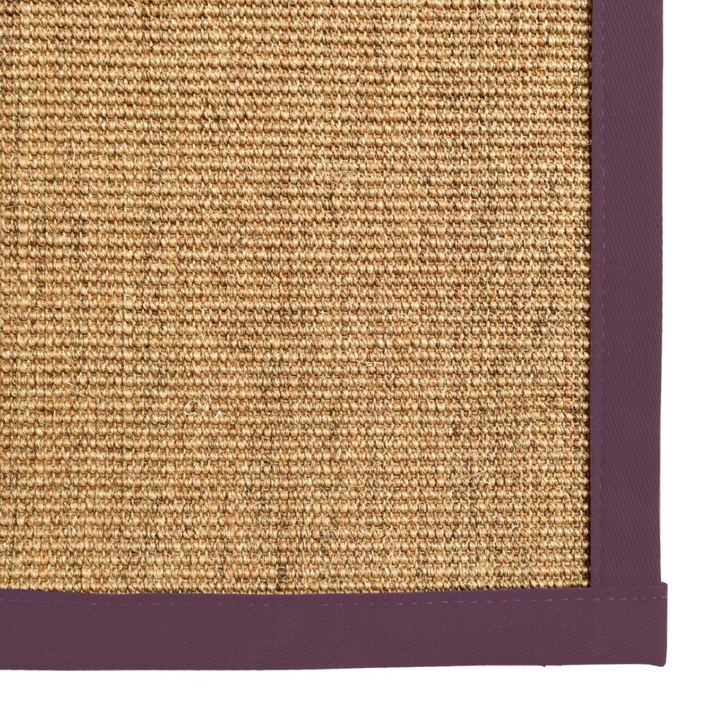 Bristol Natural Sisal Area Rug with Purple Color Border