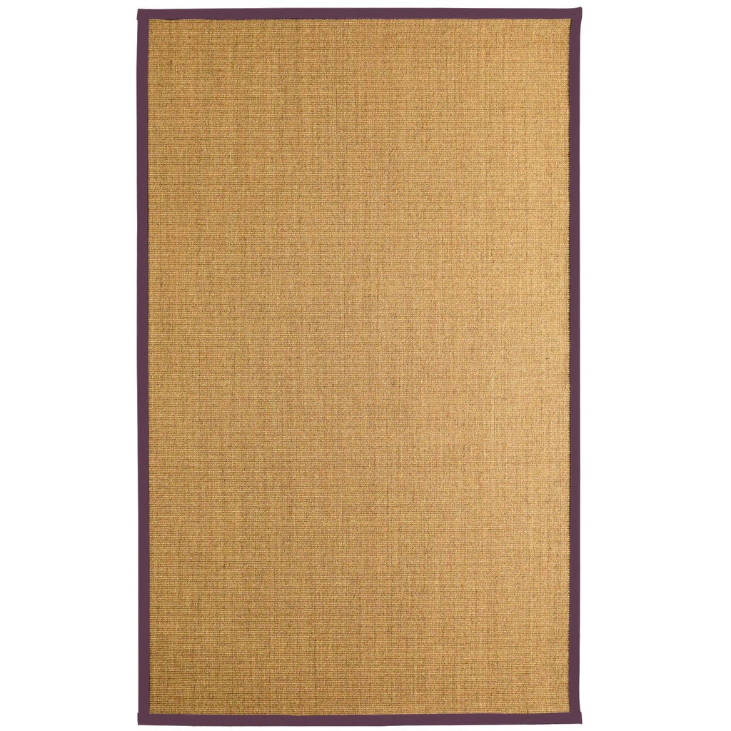 Bristol Natural Sisal Area Rug Purple Color Border iCustomRug