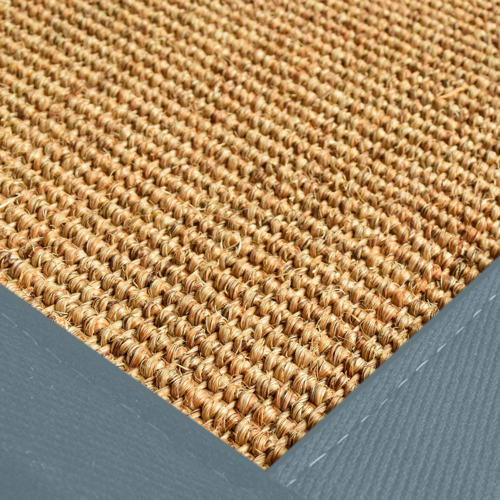 Bristol Natural Sisal Area Rug with Steel Blue Color Border