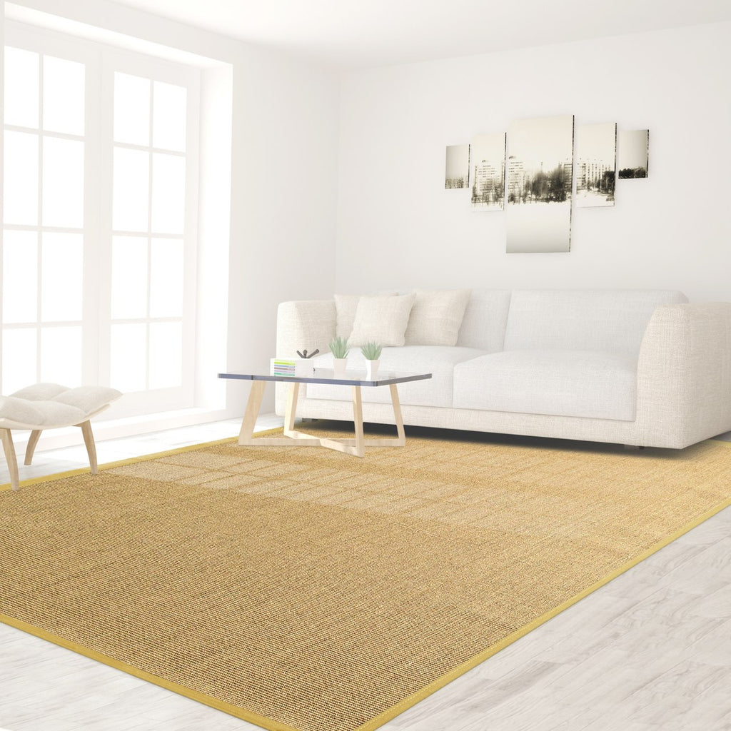 Bristol Natural Sisal Area Rug with Mustard Yellow Color Border