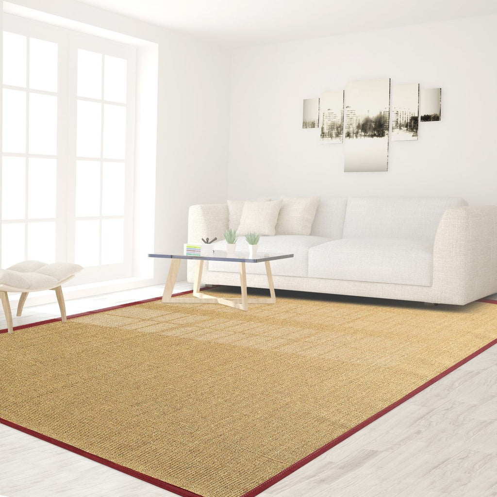 Bristol Natural Sisal Area Rug with Red Color Border