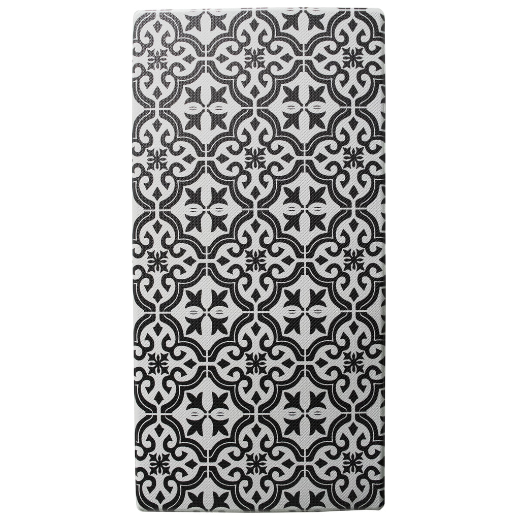 "Printed, Ergonomic, Anti Fatigue Mat. Colorful Memory Foam Comfort Mat Great for Kitchen, Bathroom and Workstation. (39"" x 20"" x 0.75"" in Mosaic Black)."