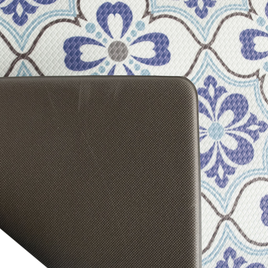"Printed, Ergonomic, Anti Fatigue Mat. Colorful Memory Foam Comfort Mat Great for Kitchen, Bathroom and Workstation. (39"" x 20"" x 0.75"" in Mosaic Blue)."
