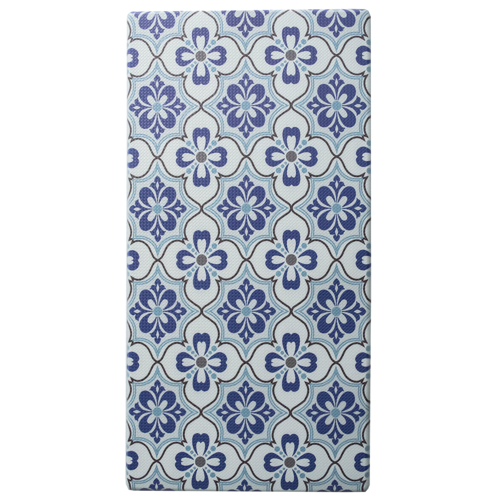 "Printed, Ergonomic, Anti Fatigue Mat. Colorful Memory Foam Comfort Mat Great for Kitchen, Bathroom and Workstation. (39"" x 20"" x 0.75"" in Mosaic Blue). iCustomRug"