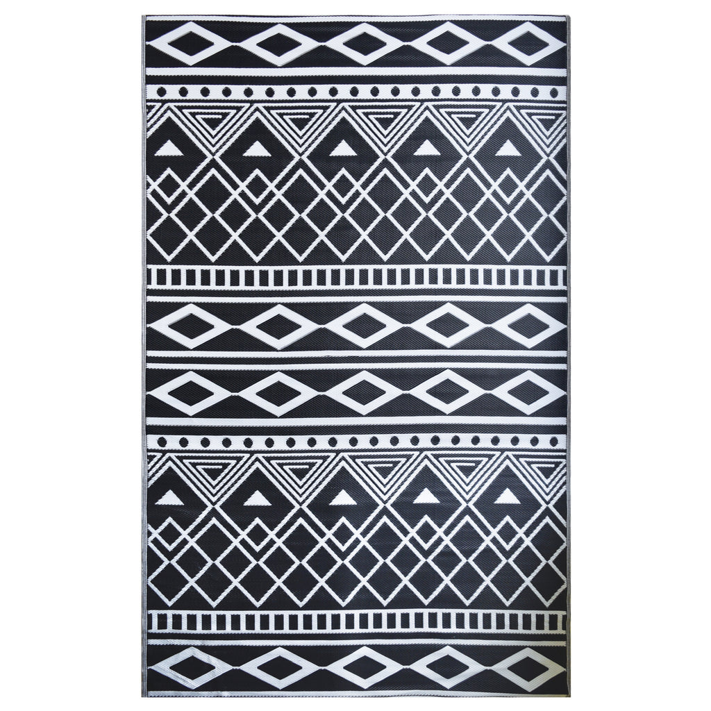 Reversible Outdoor Rug Tribal Black