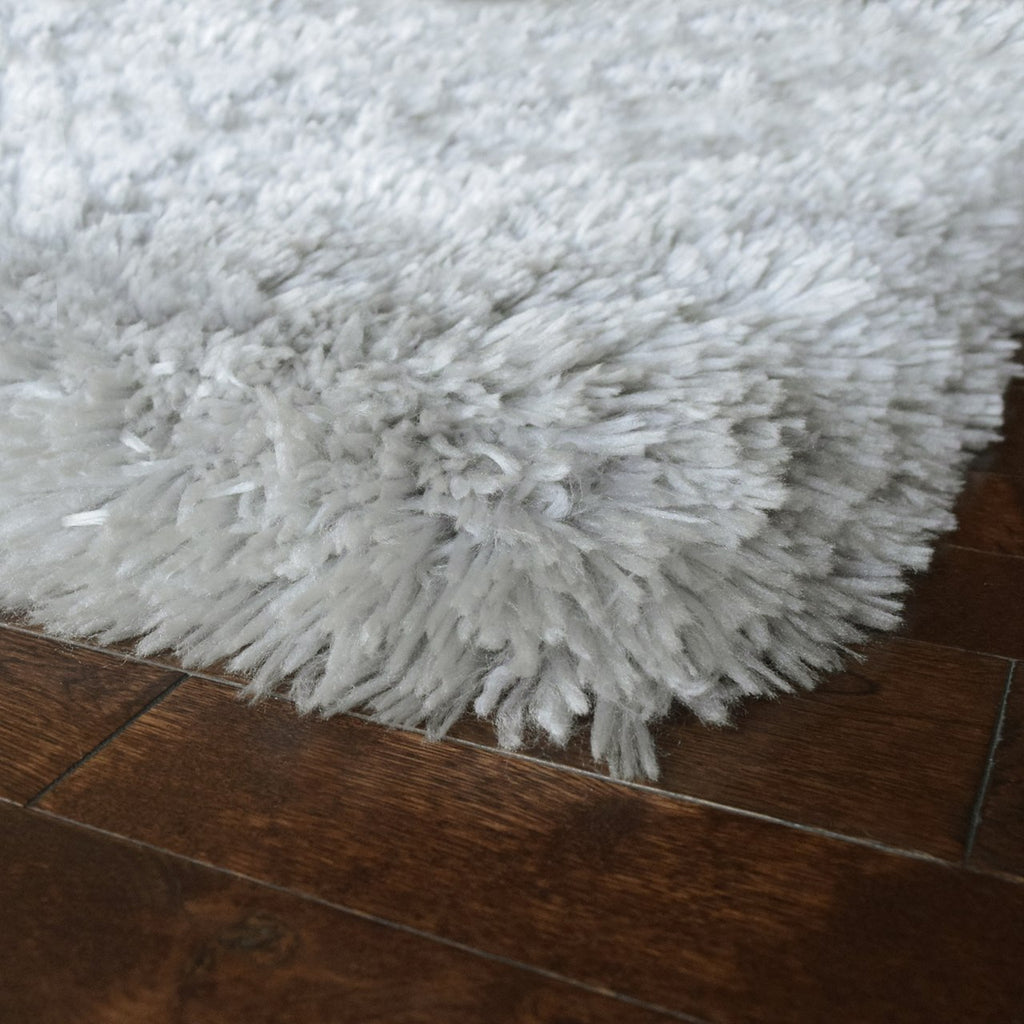 Cozy & Soft Faux Sheepskin Fur Shag Area Rug Silver