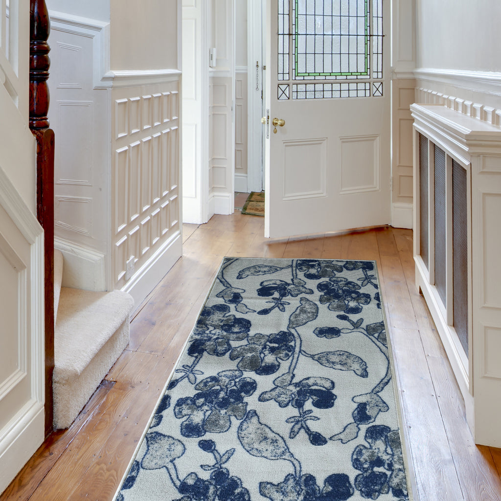 Decorative Area Rug and Carpet Runner for Stairs and Hallway, 8 Patterns - Customizable Lengths, Non-Skid Rubber Back, Floral, Blue.