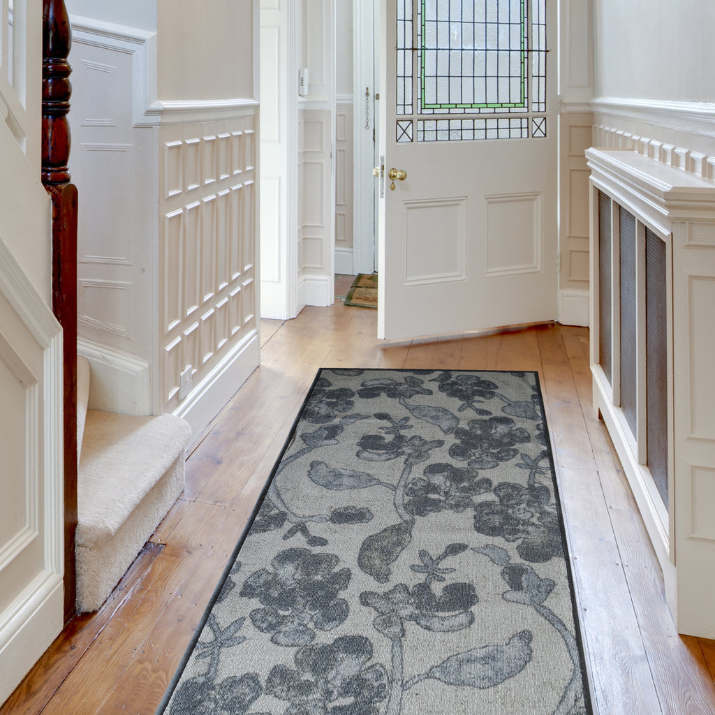 Decorative Area Rug and Carpet Runner for Stairs and Hallway, 8 Patterns - Customizable Lengths, Non-Skid Rubber Back, Floral, Taupe.