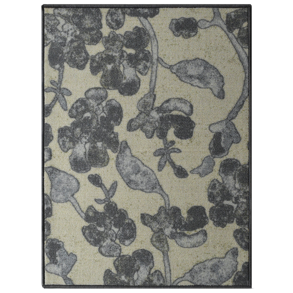Decorative Area Rug and Carpet Runner for Stairs and Hallway, Floral, Taupe iCustomRug