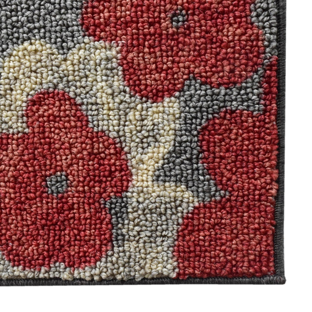 Flower Print Mat Grey Tones and Red