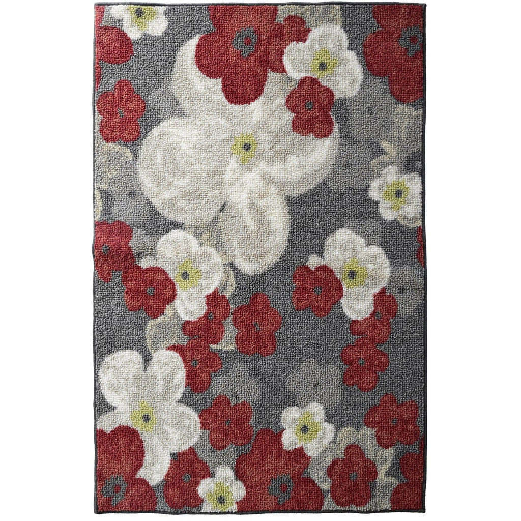 Flower Print Mat Grey Tones and Red iCustomRug