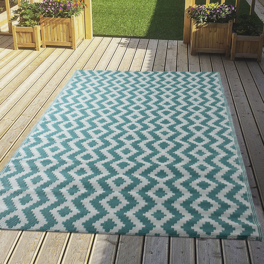 Reversible Outdoor Rug Aztec Aqua