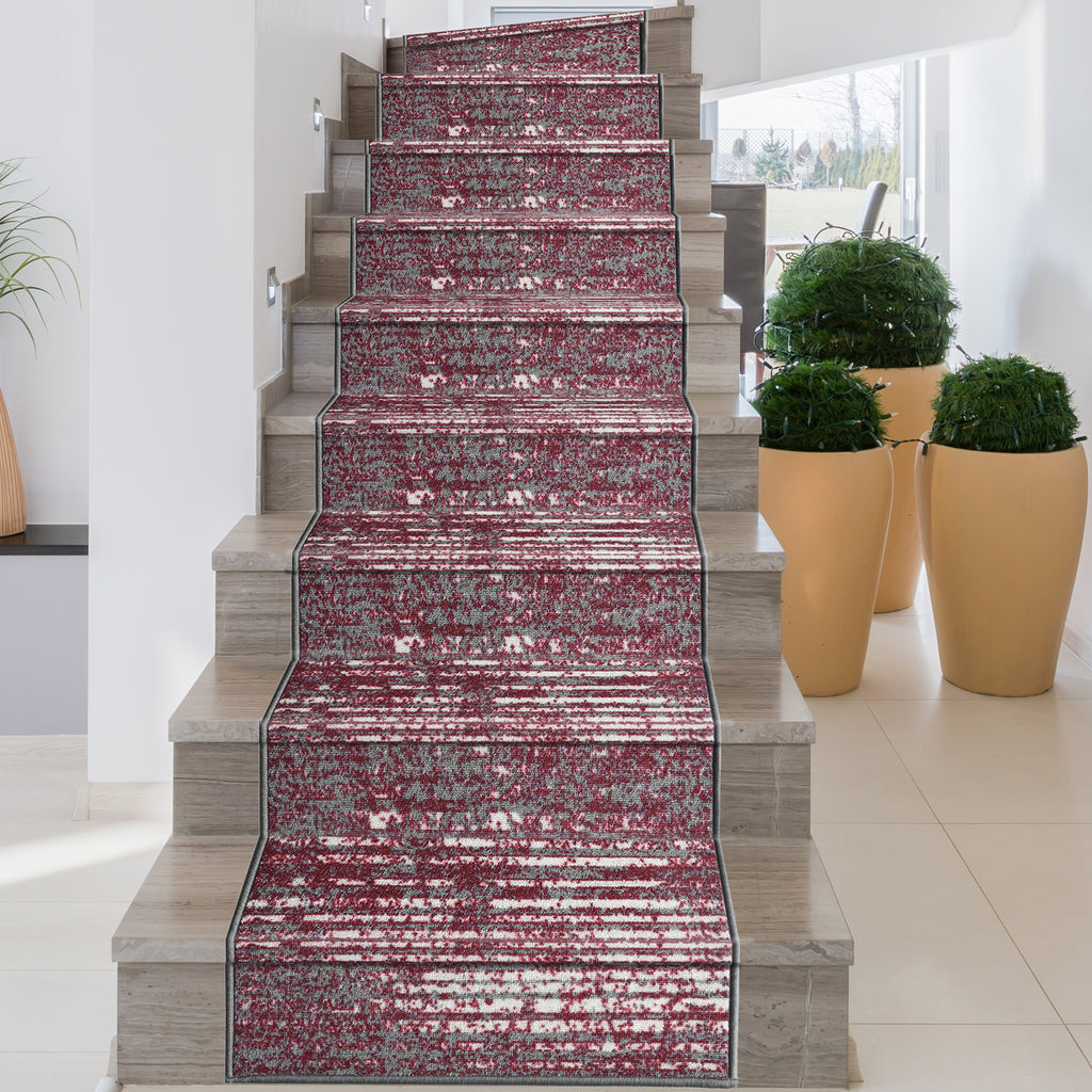 Decorative Area Rug and Carpet Runner for Stairs and Hallway, 8 Patterns - Customizable Lengths, Non-Skid Rubber Back, Stripe, Red.