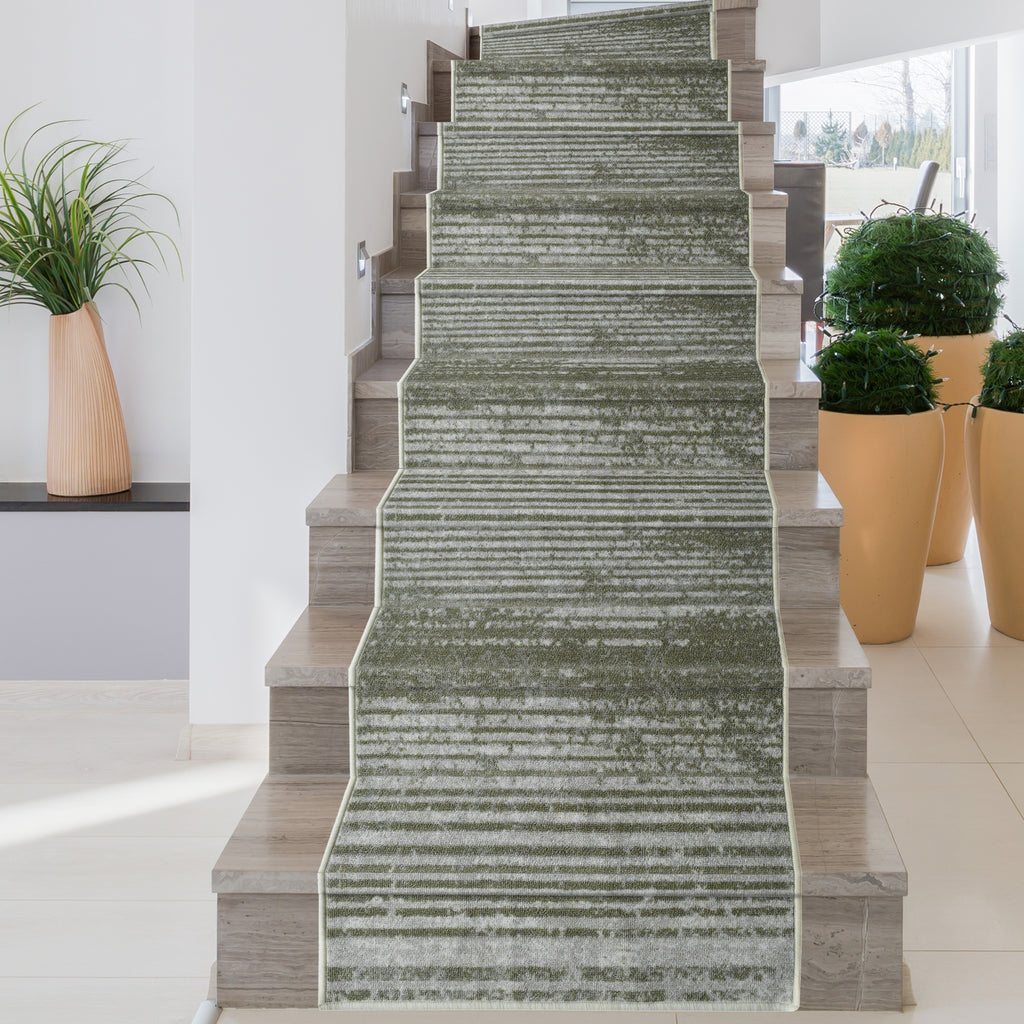 Decorative Area Rug and Carpet Runner for Stairs and Hallway, 8 Patterns - Customizable Lengths, Non-Skid Rubber Back, Stripe, Taupe.