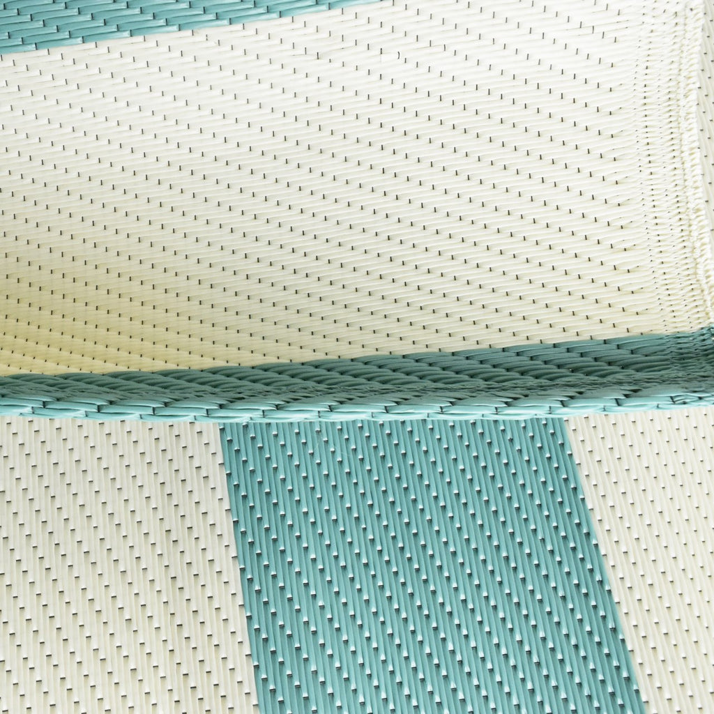 Reversible Outdoor Rug Stripe Aqua