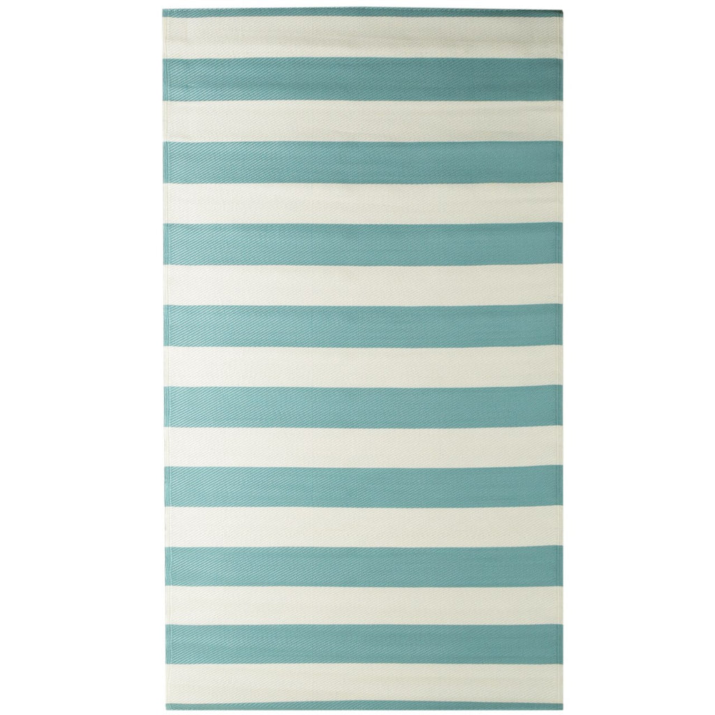 Reversible Outdoor Rug Stripe Aqua iCustomRug