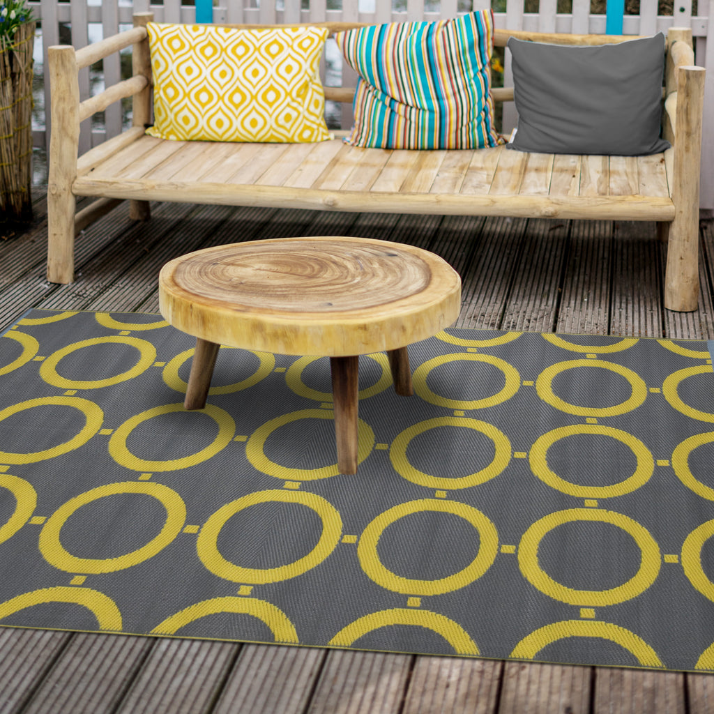 Reversible Outdoor Rug Yellow and Grey