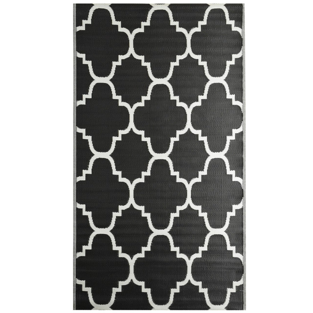 Reversible Outdoor Rug Trellis Black iCustomRug