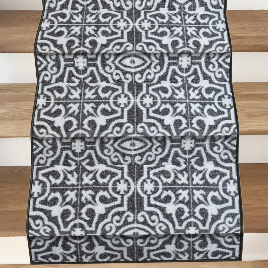 Decorative Area Rug and Carpet Runner for Stairs and Hallway, 8 Patterns - Customizable Lengths, Non-Skid Rubber Back, Contemporary Tile, Light Grey.