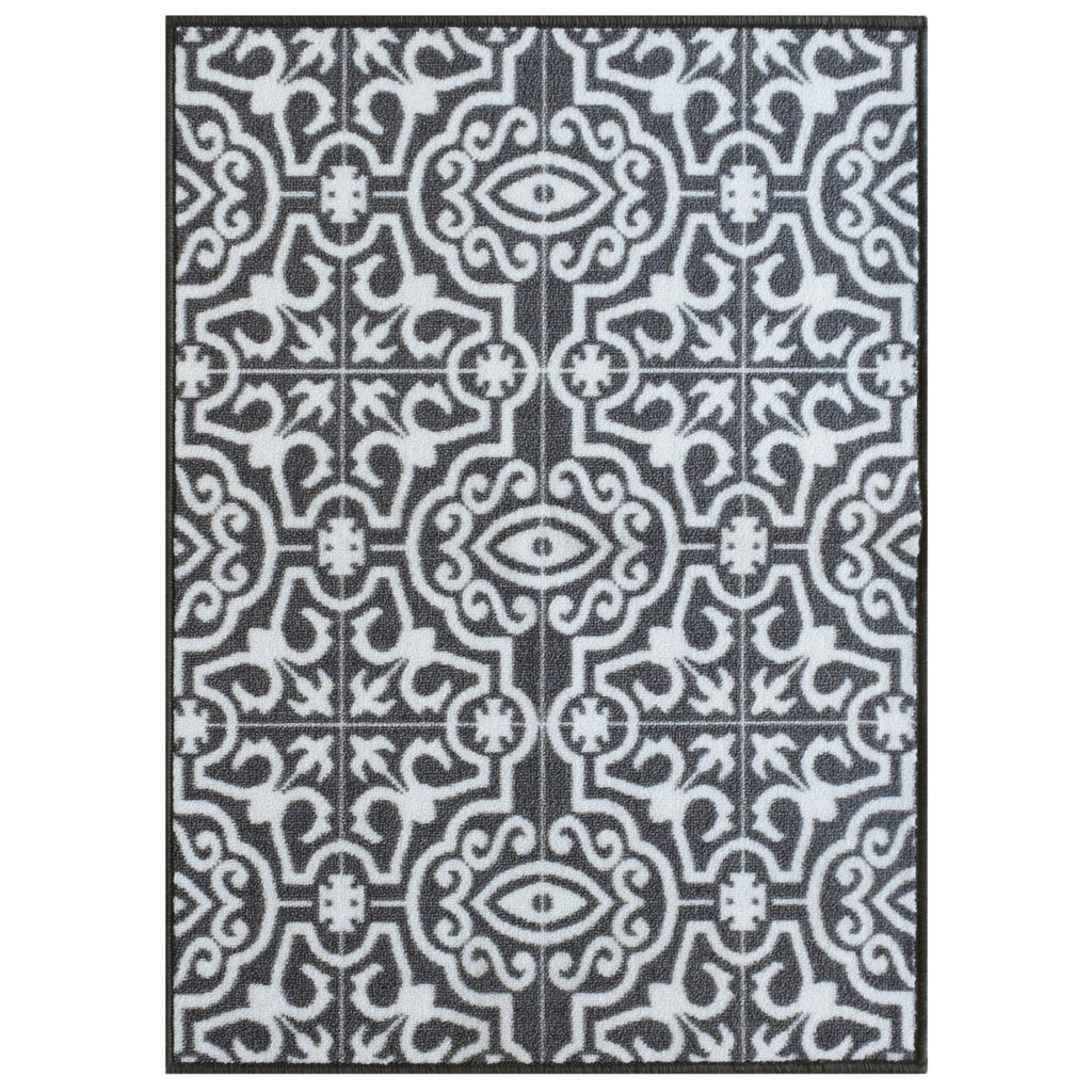 Decorative Area Rug and Carpet Runner for Stairs and Hallway, Contemporary Tile, Light Grey iCustomRug