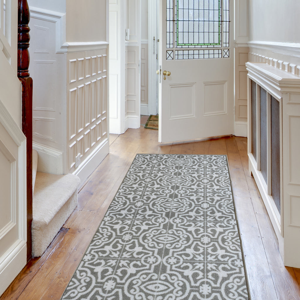 Decorative Area Rug and Carpet Runner for Stairs and Hallway, 8 Patterns - Customizable Lengths, Non-Skid Rubber Back, Contemporary Tile, Taupe.