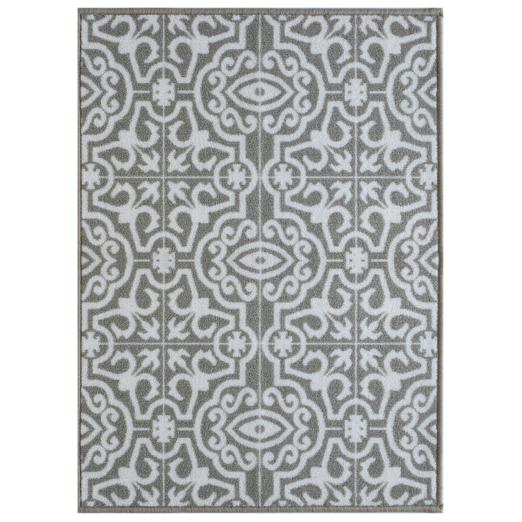 Decorative Area Rug and Carpet Runner for Stairs and Hallway, Contemporary Tile, Taupe iCustomRug