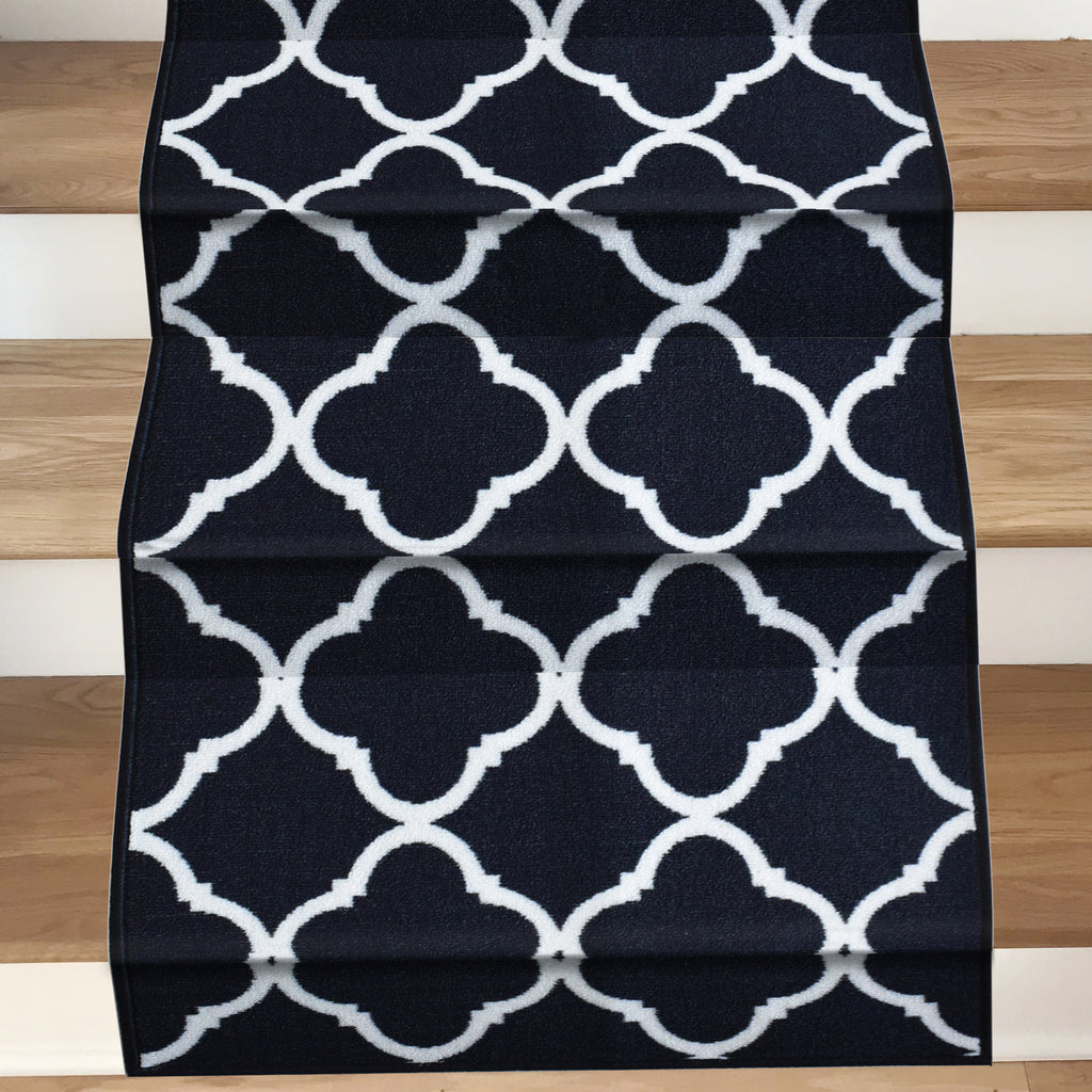 Decorative Area Rug and Carpet Runner for Stairs and Hallway, 8 Patterns - Customizable Lengths, Non-Skid Rubber Back, Trellis, Black.
