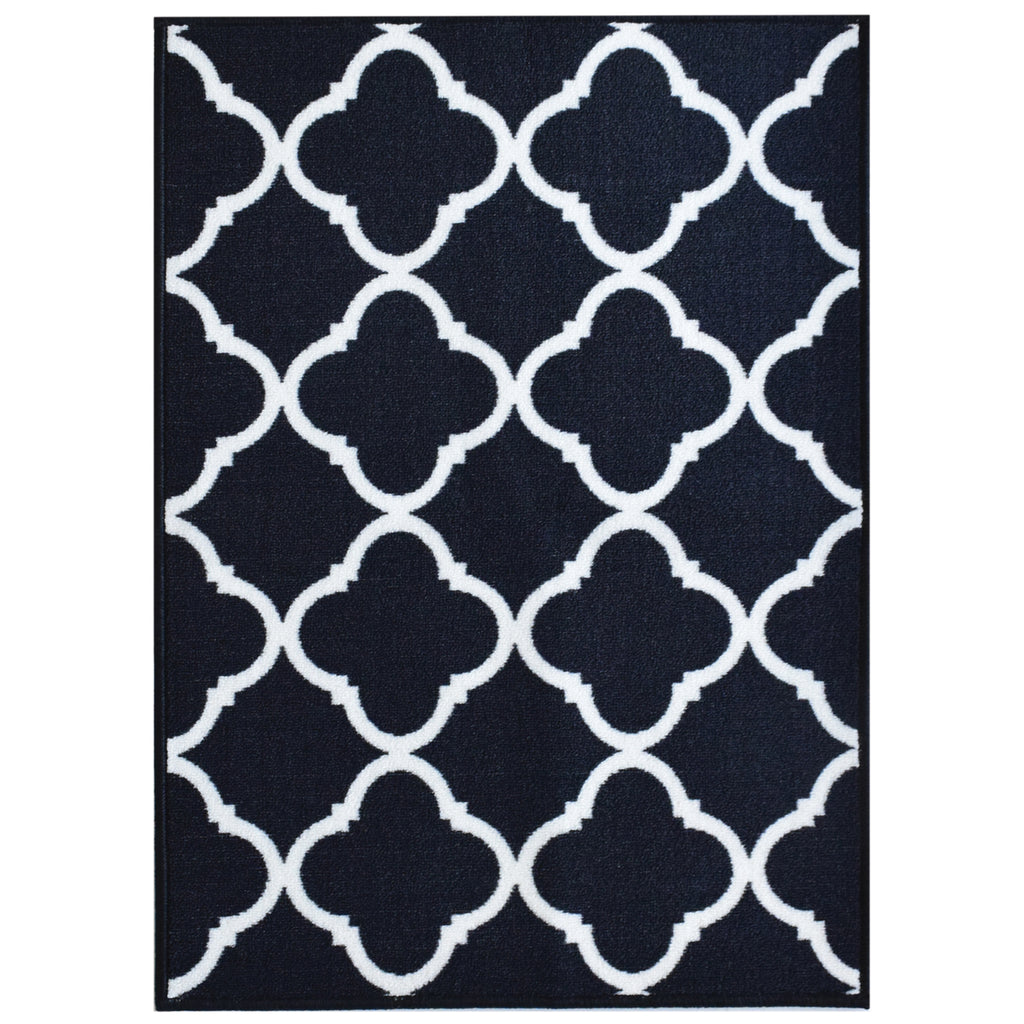 Decorative Area Rug and Carpet Runner for Stairs and Hallway, Trellis, Black iCustomRug