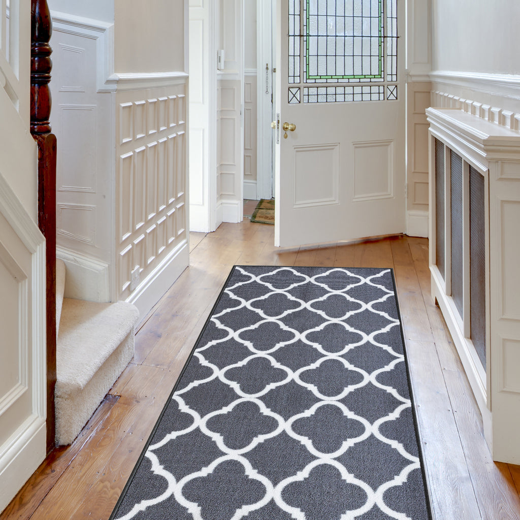 Decorative Area Rug and Carpet Runner for Stairs and Hallway, 8 Patterns - Customizable Lengths, Non-Skid Rubber Back, Trellis, Grey.